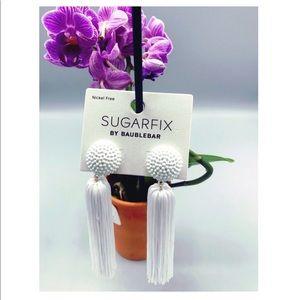 Sugarfix White Tassel Earrings - NWT